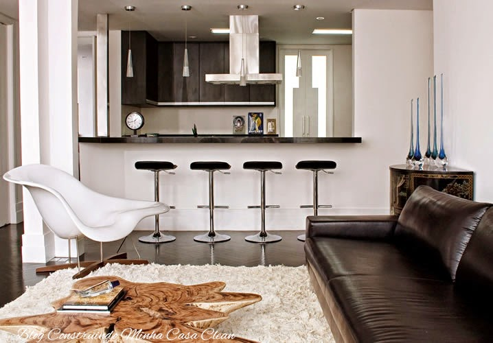 Sala Pequena Integrada Com Cozinha ~  Casa Clean 25 Cozinhas Integradas com as Salas! Veja como Decorar