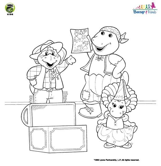 Desenhos Para Colori boneco barney e amigos desenhar
