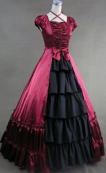 Gorgeous Red and Black Gothic Victorian Dress