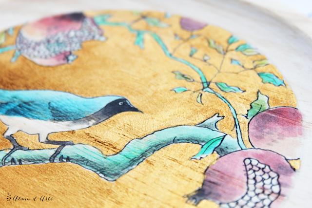 Serie de pinturas sobre madera de inspiración japonesa