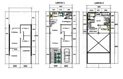 Denah Rumah 2 Lantai Tipe 36