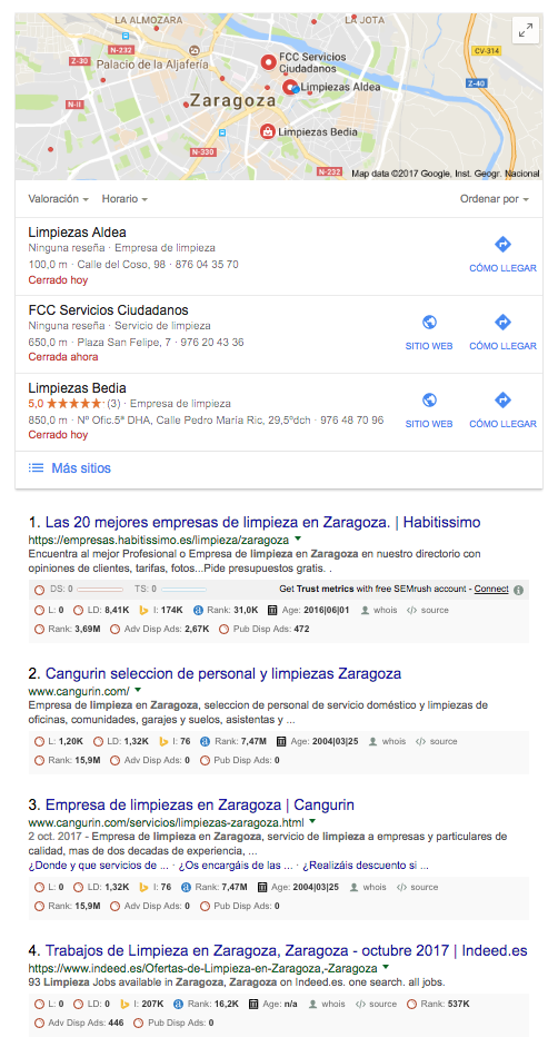 Que ocurre si buscas una empresa de limpieza en Zaragoza en Google ...
