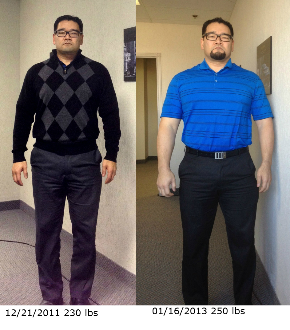 comparison pics, 230 lbs vs 250 lbs