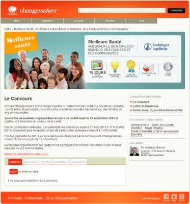 concours 2011 meilleure santé Boehringer Ingelheim et Ashoka's Changemakers