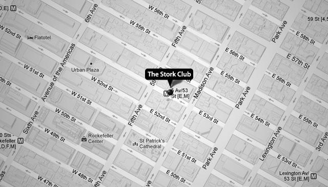 Localización del Stork Club original, en la 53rd Street en pleno Manhattan.