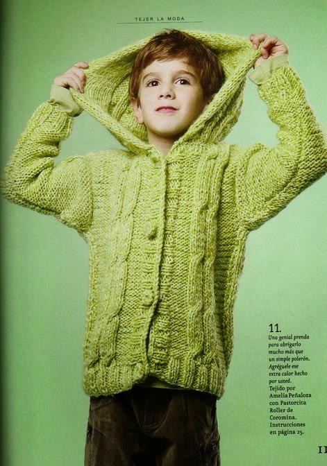 Patrones de saco con capucha tejido con dos agujas | Crochet y Dos ...