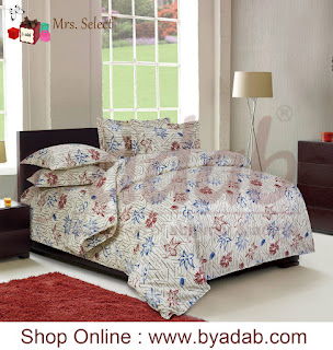Buy grey floral hand brush Print Bed Sheets with matching cushions covers in different sizes.