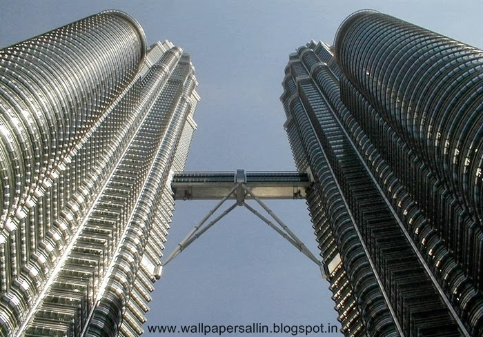 view from bottom of petronas twin tower