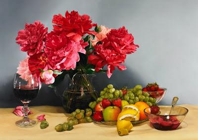 bodegon-flores-frutas