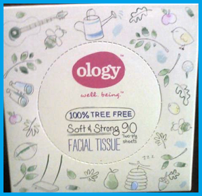 ology: well being (tm) 100% tree free, soft and strong facial tissue. 90 two ply sheets