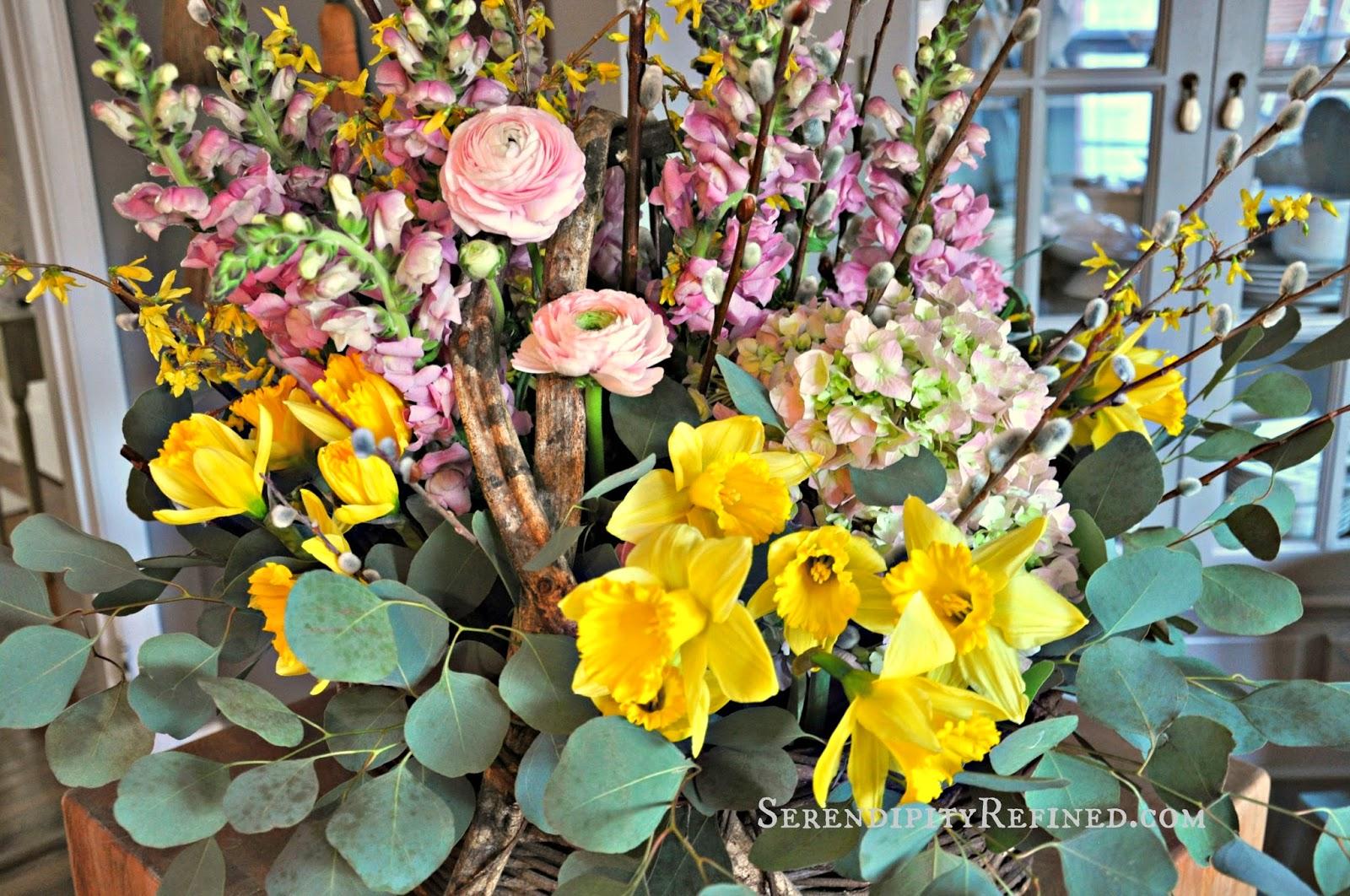 Serendipity Refined Blog Spring Flower Basket Easter Table Centerpiece