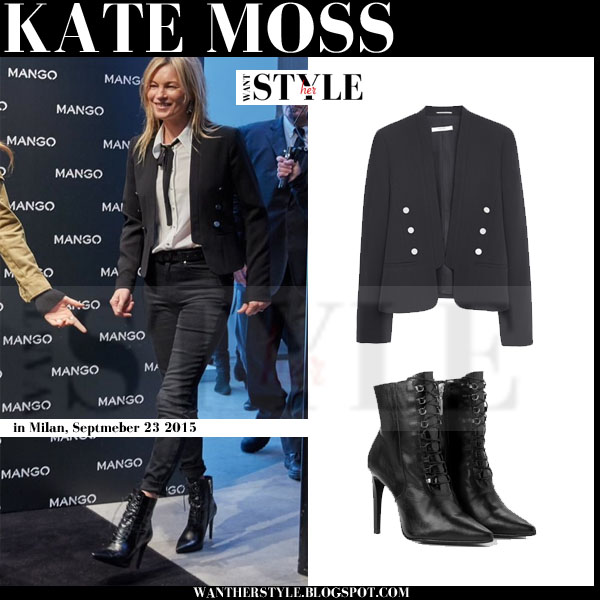 Kate Moss in black double breasted jacket, black skinny jeans and black lace up ankle boots mango total look what she wore september 2015