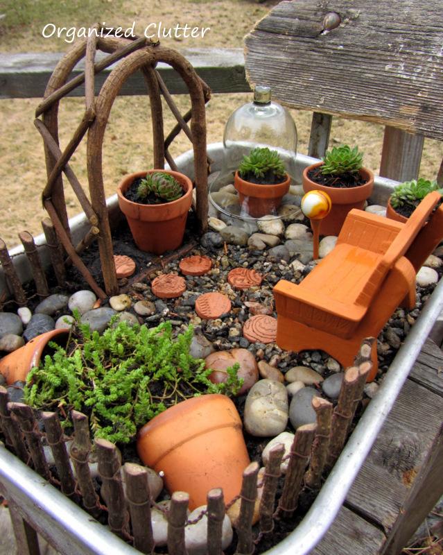 Terracotta & Succulents Miniature Garden www.organizedclutterqueen.blogspot.com