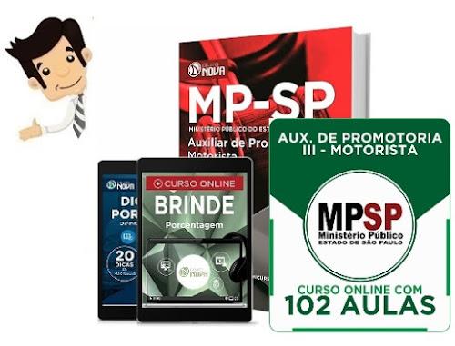 Apostila e Curso Online Concurso MP-SP 2016 - Auxiliar Promotoria III - Motorista