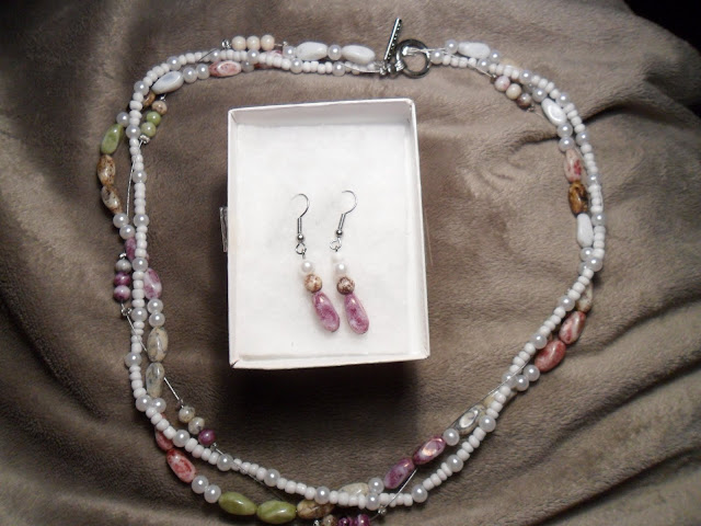 Three Strand Beaded Necklace with Matching Earrings by BIngo Buttercup Crafts
