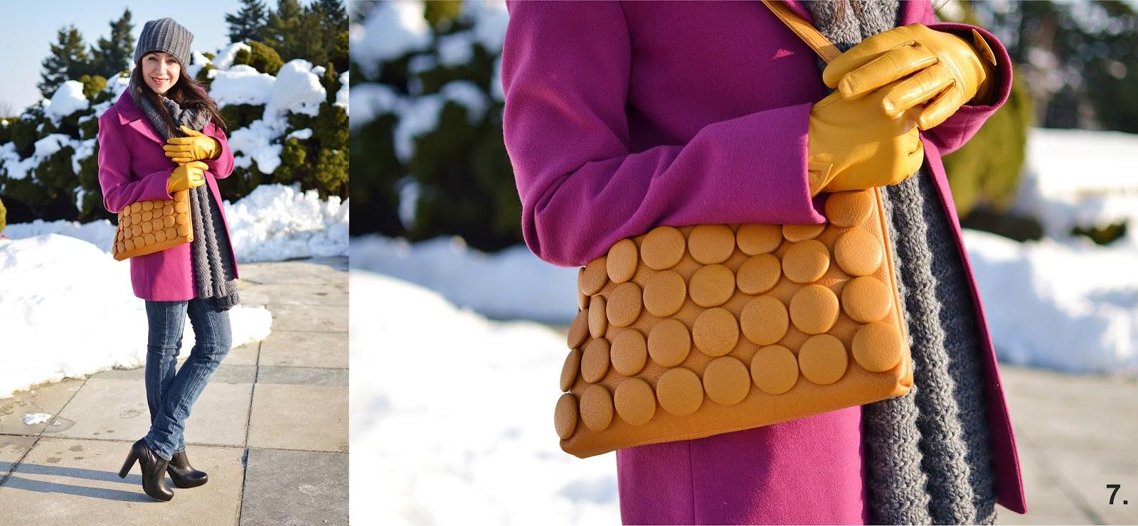 Seven ways how to wear clutch_Katharine-fashion is beautiful_Sivý šál_Sivá čiapka_Žlté kožené rukavice_Katarína Jakubčová_fashion blogger