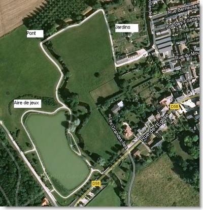 Vue satellite de l'étang de Chouzy-sur-Cisse