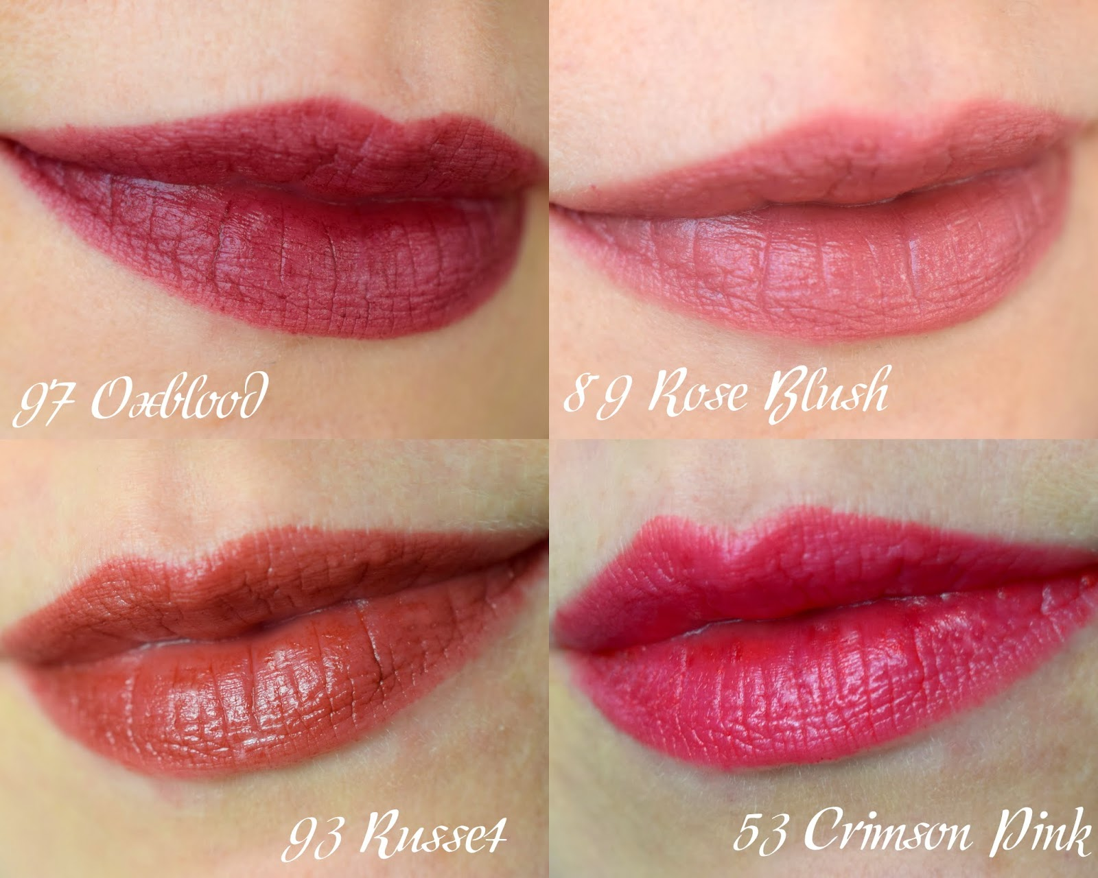 Swatches Burberry Kisses 89 Rose Blush, 53 Crimson Pink, 93 Russet, 97 Oxblood