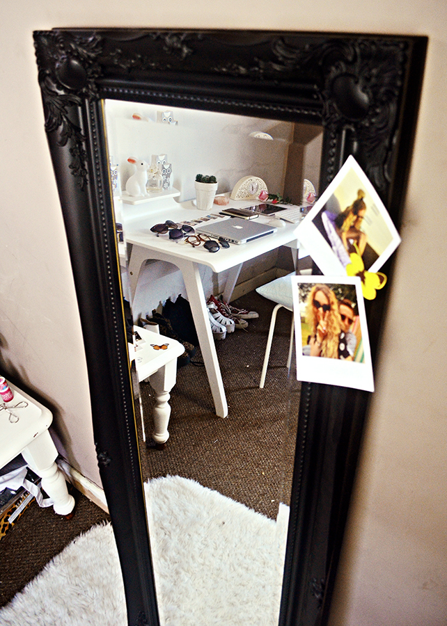 mirrorworld mirror, shabby chic, vintage, made.com white cornell desk review, polaroid prints instagram, printed.com