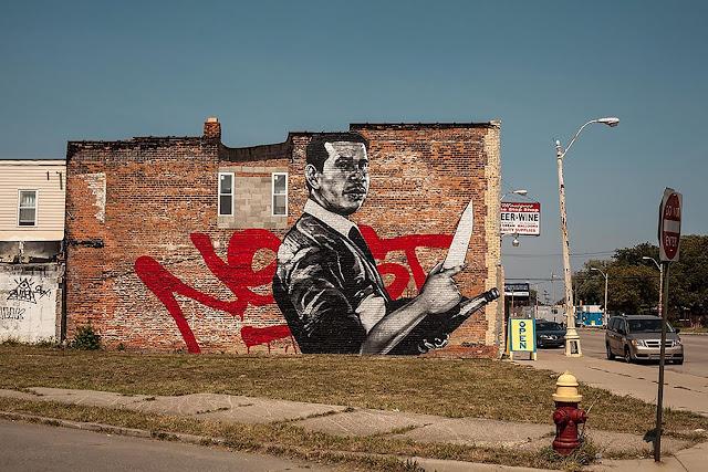 Askew Tribute To Nekst Street Art Mural In Detroit - Landscape view