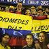 Los hinchas de Colombia recordando al Cacique de la Junta en Chile