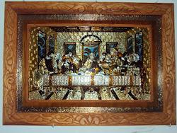 ultima cena en repujado y marco tallado con fondo de cobre tambien repujado