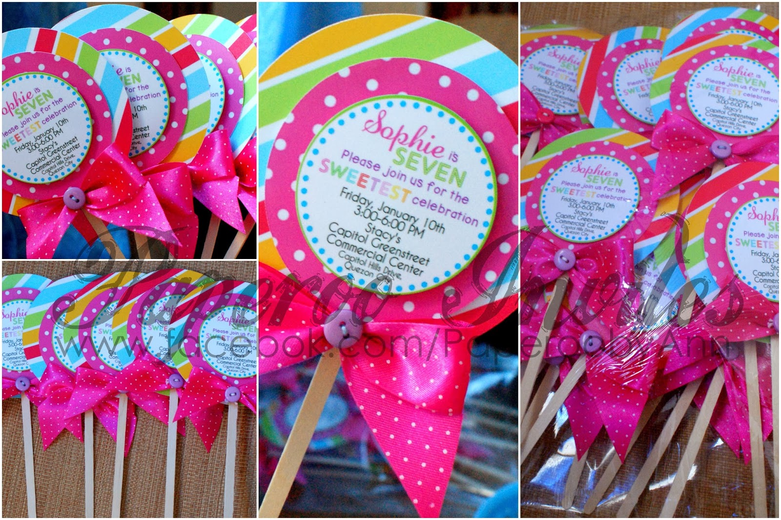 Paperoo Invites Lollipopshaped Invitations for Candyland theme party