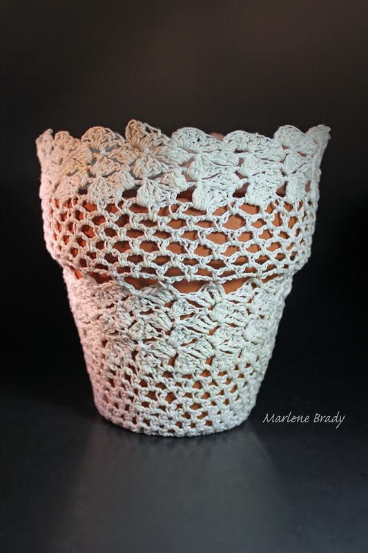 Crochet Flower Pot Pattern Free : Marlene Brady: Crocheted Flower Pot Cover