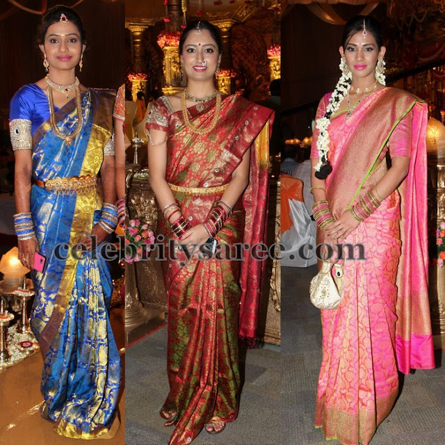 Beautiful Ladies Benaras Bridal Saris