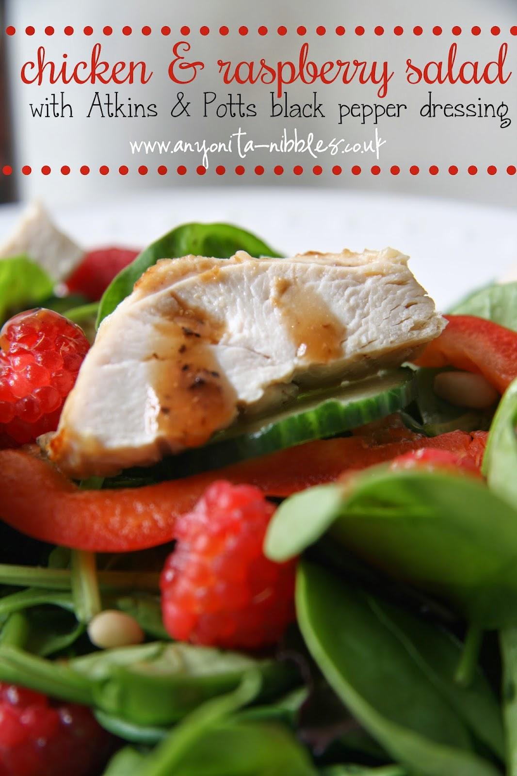 Chicken & Raspberry Salad with Atkins & Potts Raspberry & Black Pepper Dressing #glutenfree #healthy #salads