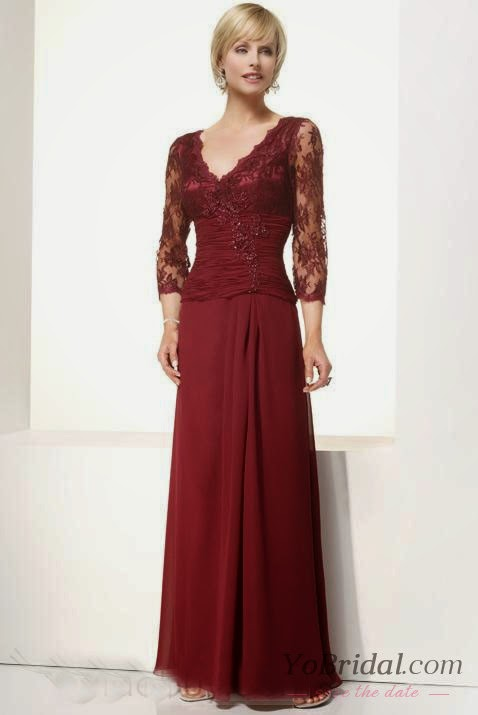Slimming V-Neck 2/3 Sleeves Column Claret Lace Satin Floor Length Mother Of Brides Dress online cheap prices