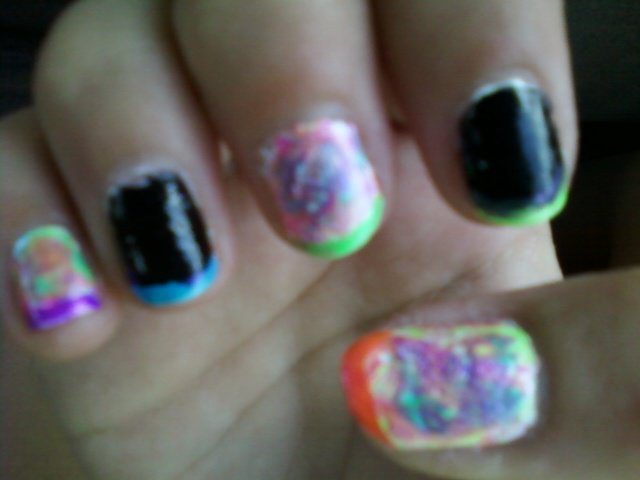 Abbys Nail Designs Splatter Paint And Black Nails With Neon Tips