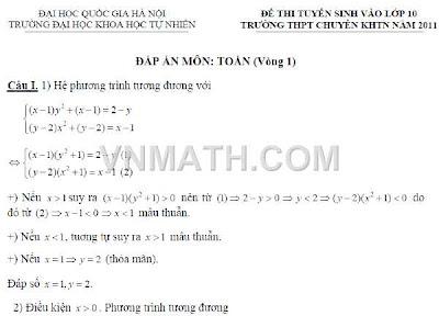 Đáp án đề thi vào lớp 10 chuyên Toán, Sinh, Lý, Hóa KHTN Hà Nội 2011