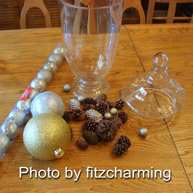 Apothecary Jar with Dollar Store Christmas Balls
