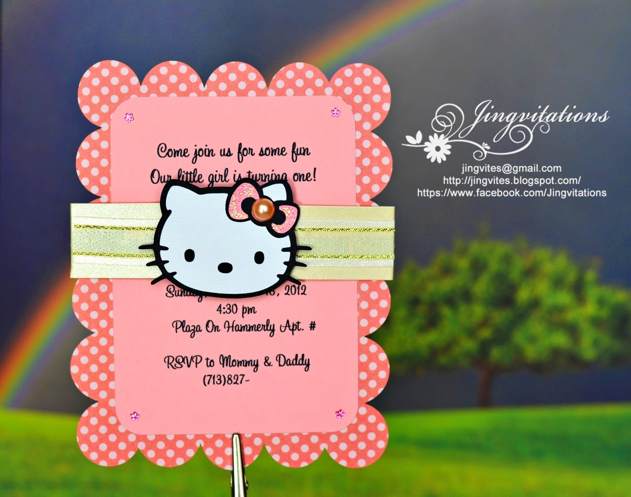 jingvitations  hello kitty baby shower  baptism  birthday