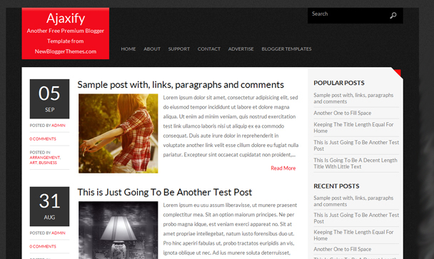 Ajaxivy Blogger Template SEO Friendly