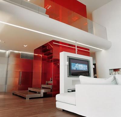 apartamento blanco y rojo