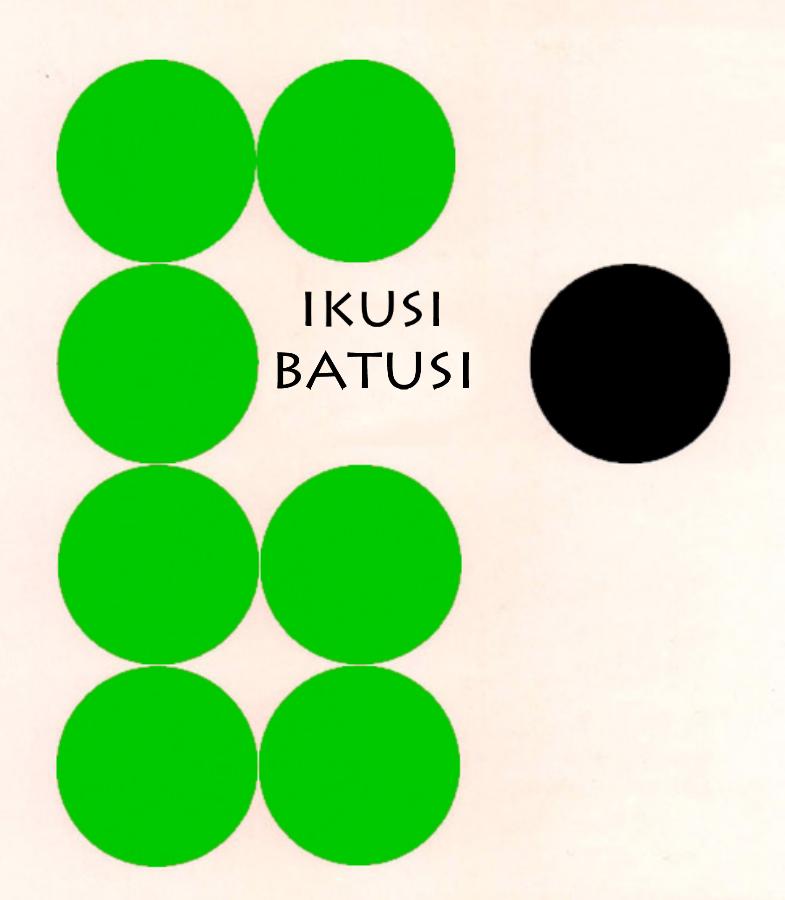 cartel con circulos verdes y negro de ikusi batusi