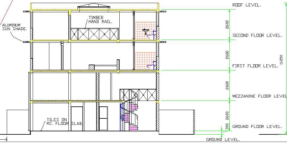 Contoh Gambar Autocad: Bangunan Kantor 4 Lantai