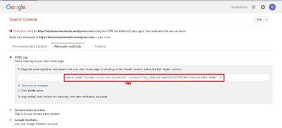 Cara Mudah Verifikasi WordPress.com Di Google Webmaster