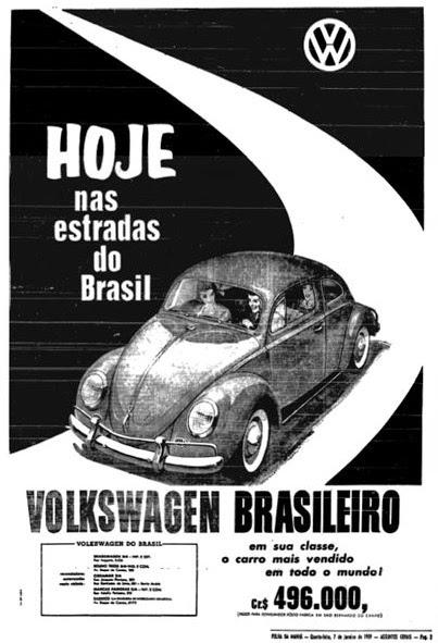 Propaganda da Volkswagen para promoção da produção de automóveis no Brasil.