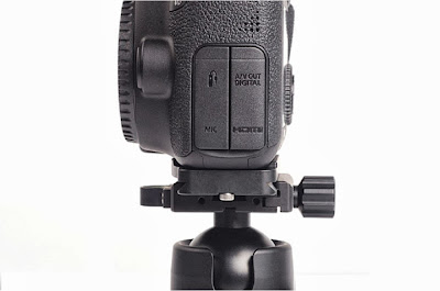 Sunwayfoto PC-6D custom plate on Canon EOS 6D - side view