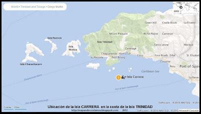 Isla Carrera. Ubicacion de la Isla Carrera en la costa de TRINIDAD, (bing)