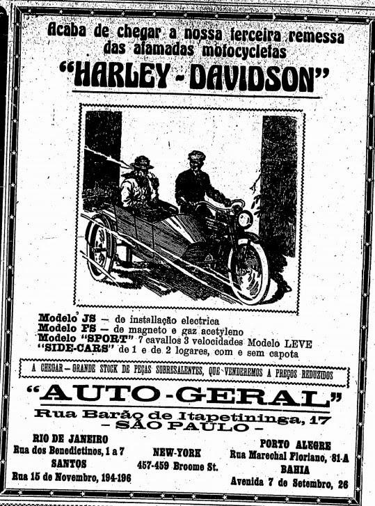 Propaganda das motos Harley-Davidson em 1919: lotes importados.