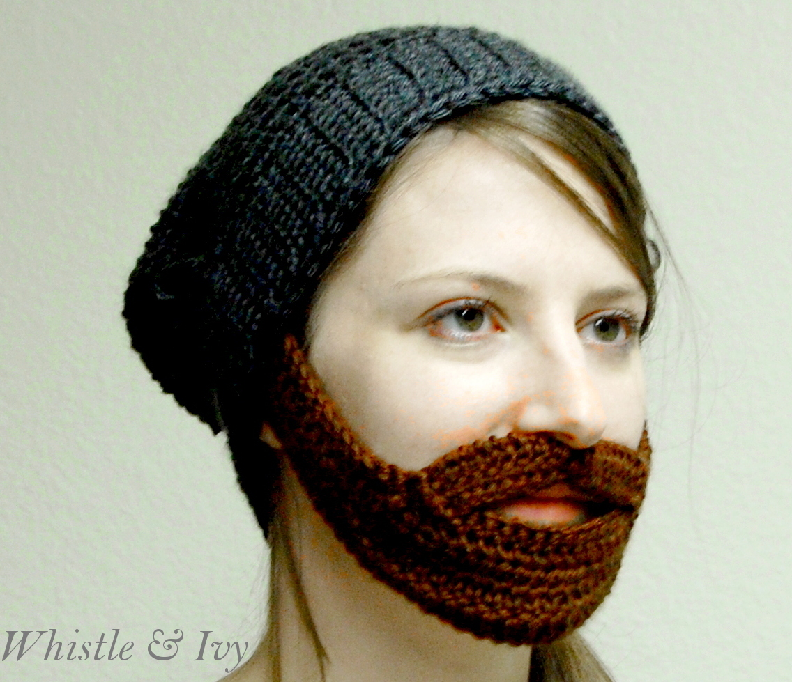 Beanie Hat With Beard Crochet Pattern Free : Barba Beanie Crochet Pattern - Whistle and Ivy