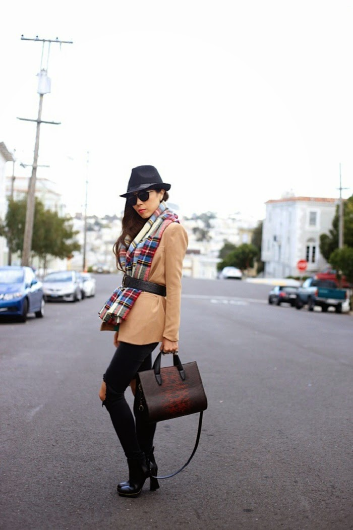 Asos oversized plaid blanket scarf, Target plaid scarf, how to, fedora hat, karenwalker harvest sunglasses, alexander wang bag, nude blazer, street style, Unif jeans, missguided chelsea boots, pfw, shallwesasa, baublebar 360 pearl studs, ily couture ring pack,san francisco, fashionblog