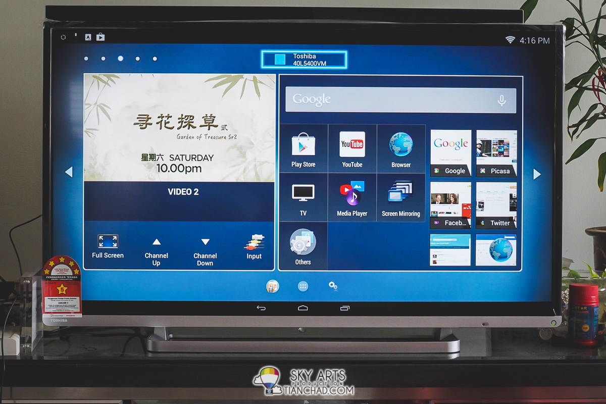 "Toshiba 40L5400VM - 40"" LED Android TV with the android layout screen"