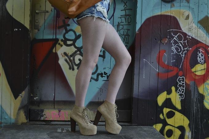 topshop floral shirt, pull & bear jean shorts, jeffrey campbell lita