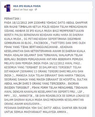 pergaduhan diantara kaum India dan juga Melayu di Sungai Petani Kedah