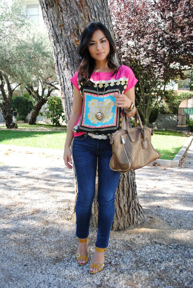 scarf print top, padrão lenço, look, style, streetstyle, zara, mango, furla